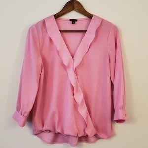 Ann Taylor silk Pink ruffle v-neck blouse size ps